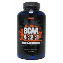 BCAA 4:2:1 with glutamine  Muscle World Nutrition 240 кап